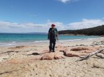 Denis at Promise Bay with Fleurieu Piont in the distrance, Freycinet NP