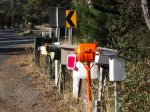 Letter boxes at Pondville turn off, just North of Triabunna