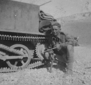 William  Hare repairing Bren Gun Carrier in Syria during WW2